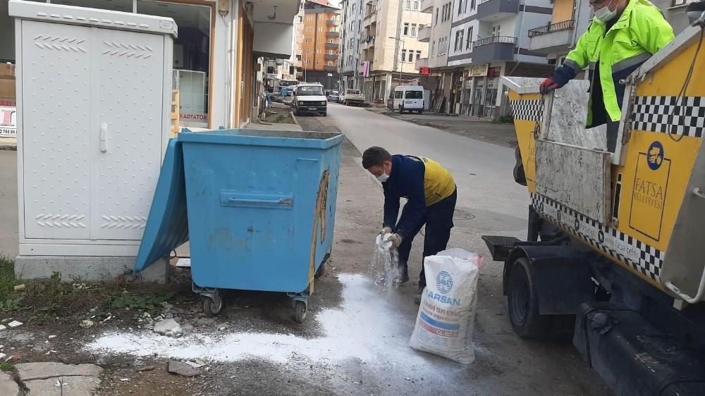 Fatsa'da çöp konteynerleri virüs tehlikesine karşı ilaçlanıyor