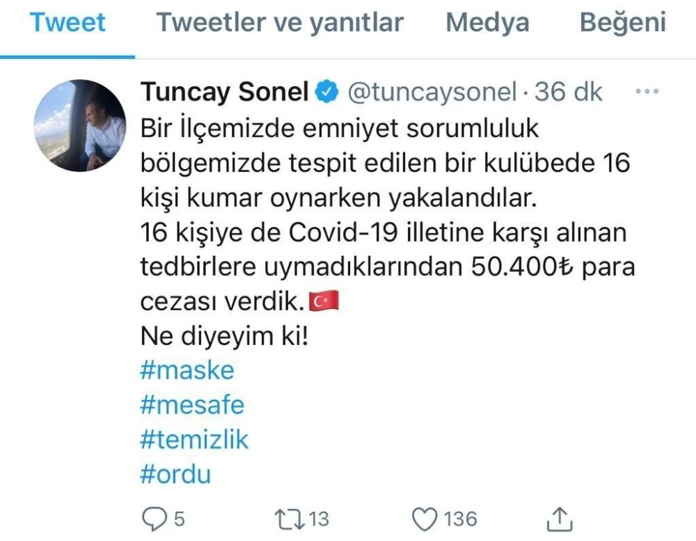 Ordu'da kumar oynayan 16 kişiye 50 bin 400 lira ceza